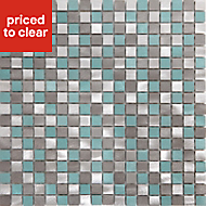 Adrano Grey Aluminium Mosaic tile, (L)304mm (W)292mm