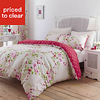 Canterbury Floral Pink, red & white Double Bedding set