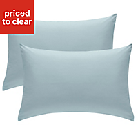 Chartwell Plain Housewife Duck egg Pillow case, Pack of 2