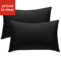 Chartwell Plain Housewife Black Pillow case, Pack of 2