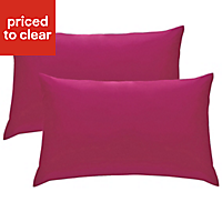 Chartwell Plain Housewife Hot pink Pillow case, Pack of 2