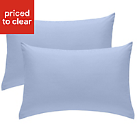 Chartwell Plain Housewife Cornflower blue Pillow case, Pack of 2