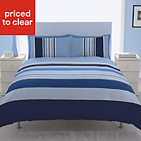 Chartwell Barcode Striped Blue Double Bedding set
