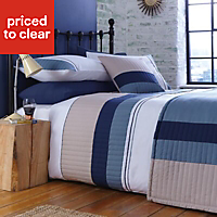 Chartwell Boston Striped Blue King Bedding set