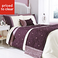Chartwell Amy Floral Plum & white Single Bedding set