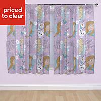 Frozen Purple Unlined Pencil pleat Curtains (W)167cm (L)137cm, Pair