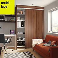 Shaker Natural Walnut effect Sliding wardrobe door (H)2220 mm (W)762mm