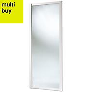 Shaker Mirrored White Sliding wardrobe door (H)2220 mm (W)762mm