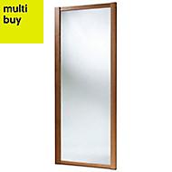 Shaker Mirrored Natural Walnut effect Sliding wardrobe door (H)2220 mm (W)914mm