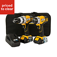 JCB Cordless 18V 2Ah Li-ion Brushed Drill & impact driver with 2 batteries with 1pc 50mm Double Ended Screwdriver Bit JCB-18V-2-KIT