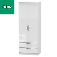 Chelsea White Gloss 2 door 2 drawer Tall wardrobe (H)1970mm (W)740mm
