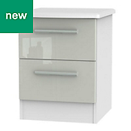 Azzurro Grey & white Gloss 2 Drawer Bedside chest (H)570mm (W)450mm (D)395mm