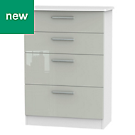 Azzurro Grey & white High gloss 4 Drawer Deep chest (H)1075mm (W)765mm (D)415mm