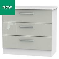 Azzurro Grey & white High gloss 3 Drawer Chest (H)695mm (W)765mm (D)415mm