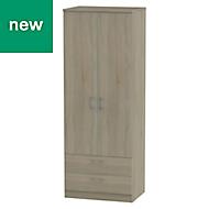 Tenby Contemporary Dark oak effect 2 door 2 drawer Tall wardrobe (H)1970mm (W)740mm