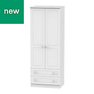 Warwick Contemporary White 2 door 2 drawer Tall wardrobe (H)1970mm (W)740mm