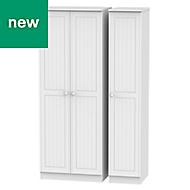 Warwick Contemporary White 3 door Tall triple wardrobe (H)1970mm (W)1110mm