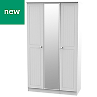 Warwick Contemporary Grey 3 door Tall triple wardrobe (H)1970mm (W)1110mm