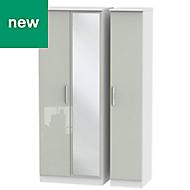 Azzurro Contemporary Grey & white 3 door Tall triple mirror wardrobe (H)1970mm (W)1110mm