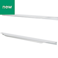 GoodHome Brushed Straight Pull handle (L)397mm, Pack of 2