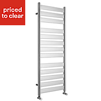 Kudox Linear 426W Silver Towel warmer (H)1300mm (W)500mm