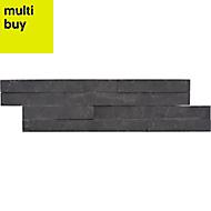 Splitface Black Stone effect Linear interlocking Slate Border tile, Pack of 8, (L)360mm (W)100mm