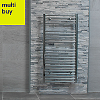 Splitface White Stone effect Linear interlocking Marble Border tile, Pack of 8, (L)360mm (W)100mm