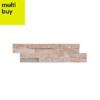Splitface Oyster Matt Natural stone Wall tile, Pack of 8, (L)360mm (W)100mm