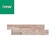 Splitface Oyster Matt Natural stone Wall tile, Pack of 8, (L)360mm (W)100mm