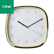 Jones Vogue Contemporary Brass effect Quartz Clock
