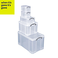 Really Useful Heavy duty Clear 2 x 3L, 9L, 36L & 84L Plastic Stackable Storage boxes, Set of 5