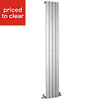 Kudox Tova Vertical Designer radiator Chrome Polished (H)1800 mm (W)310 mm