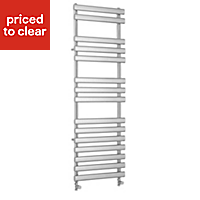 Kudox Vectis 513W Silver Towel warmer (H)1500mm (W)500mm