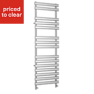 Kudox Vectis 513W Electric Silver Towel warmer (H)1500mm (W)500mm
