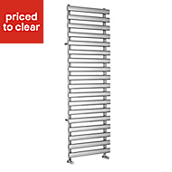 Kudox Vectis 592W Electric Silver Towel warmer (H)1500mm (W)500mm
