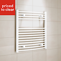 Kudox 345W White Towel warmer (H)700mm (W)600mm