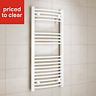Kudox 366W Electric White Towel warmer (H)1000mm (W)450mm