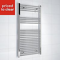 Kudox 381W Electric Silver Towel warmer (H)1200mm (W)600mm