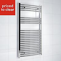 Kudox 381W Silver Towel warmer (H)1200mm (W)600mm