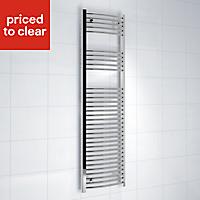 Kudox 423W Silver Towel warmer (H)1600mm (W)450mm