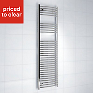 Kudox 423W Electric Silver Towel warmer (H)1600mm (W)450mm
