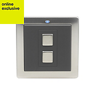 LightwaveRF Single Stainless steel effect Dimmer switch