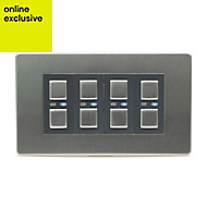 LightwaveRF Quadruple Stainless steel effect Dimmer switch
