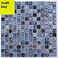 Vodka Purple Glass & marble Mosaic tile, (L)300mm (W)300mm