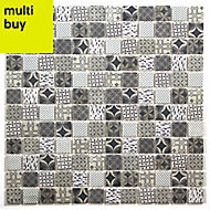 Casablanca White & blue Glass Mosaic tile, (L)300mm (W)300mm