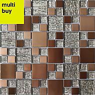 Copper luxe Copper effect Glass & metal Mosaic tile, (L)300mm (W)300mm