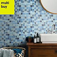 Carnival Blue & white Glass Mosaic tile sheets, (L)300mm (W)300mm