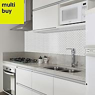 White Porcelain Mosaic tile, (L)320mm (W)298mm