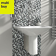 Petrol Marble effect Glass & stone Mosaic tile, (L)300mm (W)300mm