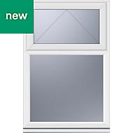 White PVC-U Top hung over fixed Casement window (H)1040mm (W)610mm